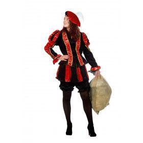 Dieprode Gestreepte Piet Dames Vrouw Kostuum