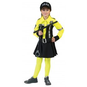 Neon Geel Zwart Politie Kostuum Meisje
