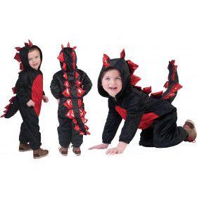 Poezelige Rood-Zwarte Draak Jongen Kostuum
