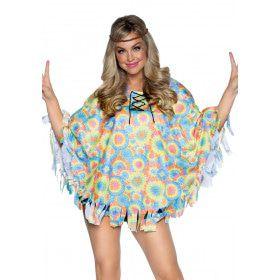 Tie Dye Hippie Jaren 70 Poncho Vrouw