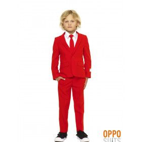 Intense Red Devil Opposuit Jongen Kostuum