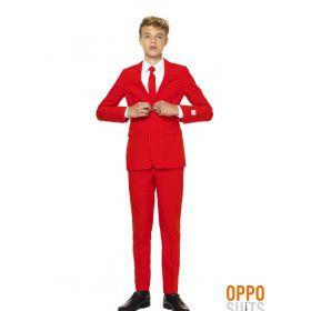 Intense Red Devil Opposuit Teen Jongen Kostuum