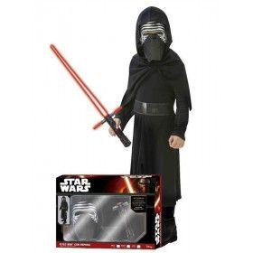 Star Wars Kylo Ren Met Lichtzwaard Strijdend Aan De Duistere Kant Kind Kostuum