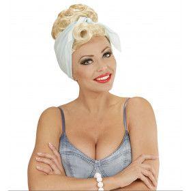 50s Pruik, Rock Pin Up Girl Blond Met Hoofddoek