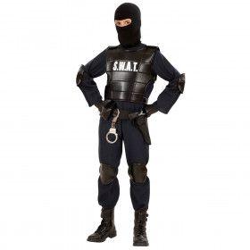 Officieel Zwart S.w.a.t. Officier M.e.jongen Kostuum