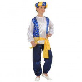 Blauw Geel Arabische Prins Jongen Compleet Kostuum