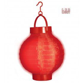 Feestelijke Lampion Met Licht 15 Centimeter Rood