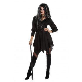Duistere Zwarte Engel Hades Vrouw Kostuum