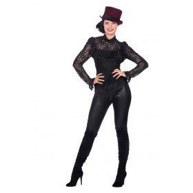 Sexy Kanten Blouse Zwart Vrouw