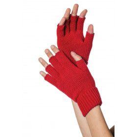 Rood Gebreide Vingerloze Handschoenen