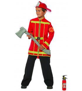 Brandweerman Sim Brandweerjas Rood (Jongen) Kostuum