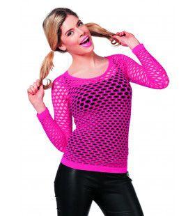 Spannend Netshirt Lange Mouw Roze Vrouw