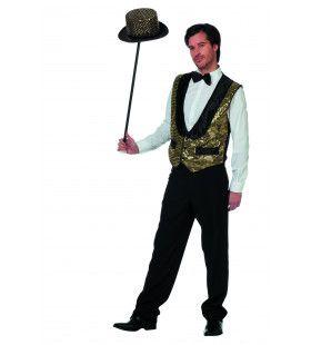 Circus Omroeper Vest Pailletten Goud Man