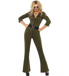 Lekkere Vliegenier Top Gun Vrouw Kostuum