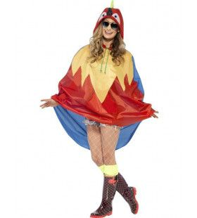 Veelkleurige Papegaai Poncho Kostuum