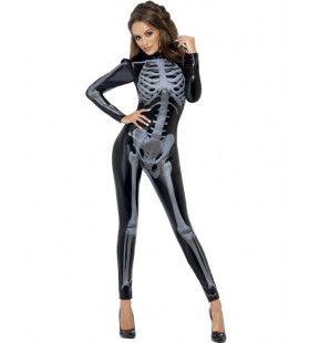 Sexy En Glimmend 3d Skelet Catsuit Vrouw Kostuum