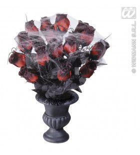 Vaas Met 15 Rode Rozen En Spinneweb