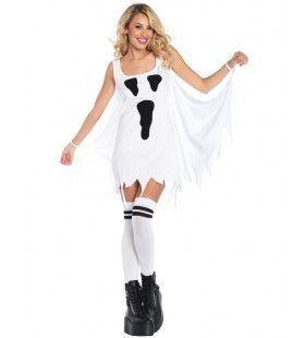 Spookachtige Jurk Kort Wit Vrouw