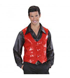 Showmaster Pailletten Vest Rood Man
