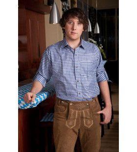 Geblokt Overhemd Deluxe Blauw / Wit Man Kostuum