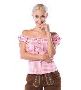 Liesl Oktoberfest Blouse Roze / Wit