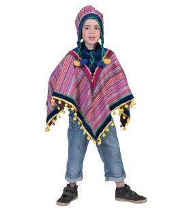Peruaanse Panfluit Poncho Kind Kostuum
