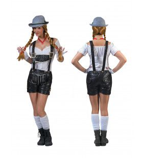 Zwarte Lederlook Tiroler Shorts Vrouw Kostuum