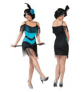 Charleston Blauw Vrouw Kostuum