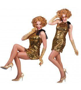 Goud Glimmende Glinster Filmster Vrouw Kostuum