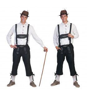 Zwarte Lange Tiroler Neurenberg Lederhosen Man