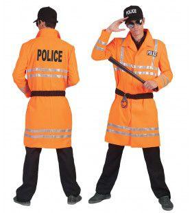 Neon Oranje Politie Man Kostuum