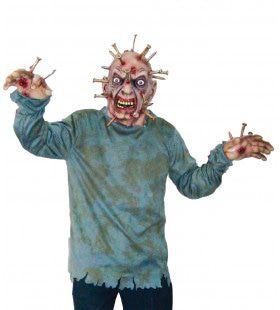 Horror Masker Spijkers In Hoofd Man Kostuum