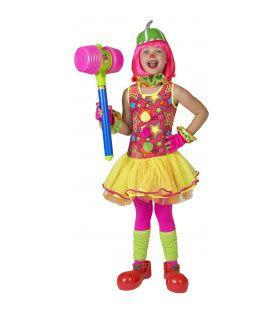 Gekke Bonte Clown Meisje Kostuum