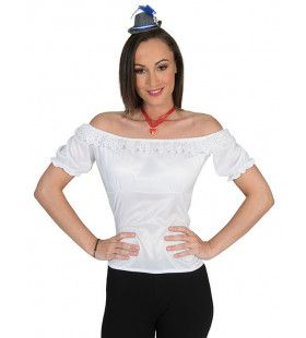 Kanten Bierfeest Tirol Shirt Wit Blouse Vrouw