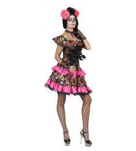 Zwart Roze Day Of The Dead Muerto Miranda Vrouw Kostuum