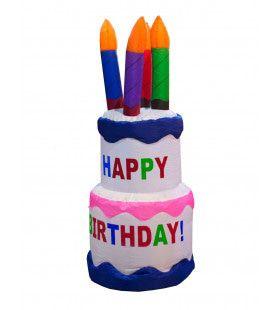 Opblaasbare Verjaardagstaart Met Kaarsjes 120 Centimeter