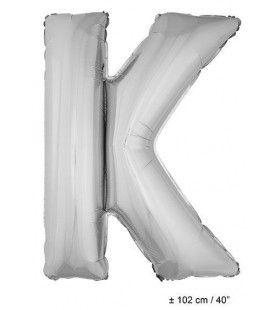 Letterballon K Zilver