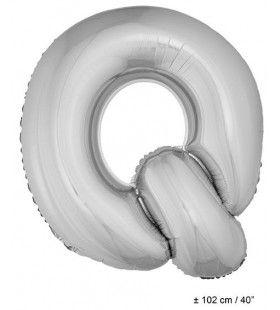 Letterballon Q Zilver