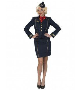 Stewardess Lange Langzame Glijvlucht Vrouw Kostuum