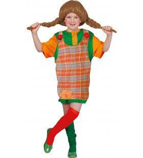 Ondeugende Pippi Overgooier Meisje Kostuum