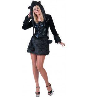 Zwoele Zwarte Aziatische Panter Vrouw Kostuum
