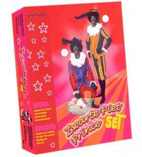 Vierdelige Zwarte Piet Set Geel Zwart Kostuum