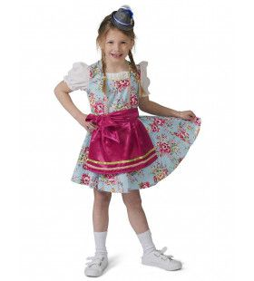 Blauw Roze Tiroler Dirndl Rosalinde Meisje Kostuum