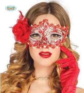 Venetiaans Oogmasker Met Rode Roos