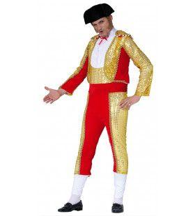 Miguel De Goud Rode Onverschrokken Stierenvechter Man Kostuum