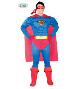 Ultimate Power Blauwe Superheld Man Kostuum