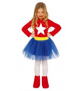 Grote Ster Superheldin Meisje Kostuum