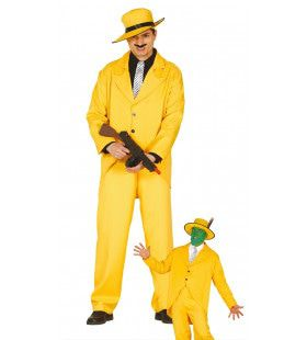 Geinige Gele Gangster Man Kostuum