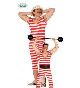 Ouderwetse Badgast Zwempak Man Kostuum