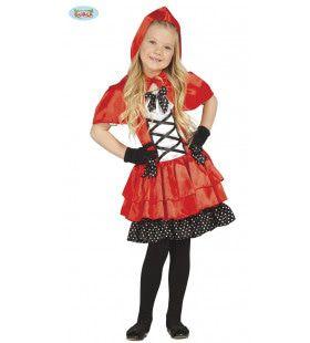 Eigenwijs Roodkapje Met Stippels Meisje Kostuum